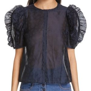 NWT ULLA JOHNSON Aria Ruffle Sleeve Navy Blouse 0